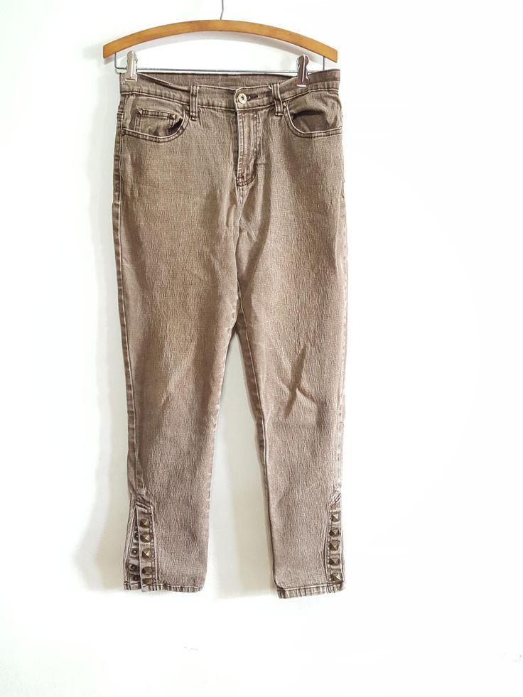 Womens Vintage Diane Gilman Jeans, Denim, Pants, Brown, Trousers, Gifts, 90s, Hipster,Boho, Studs, Decorative Jeans, Grunge, Punk, Petite