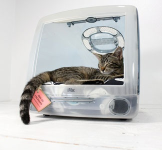 iMac Pet Bed. This would be so cool for a little office dog (like Miles) or office kitty.