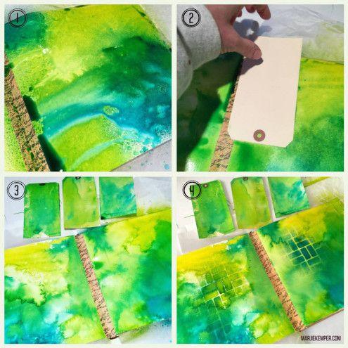 Art Journal with Dylusions Ink Sprays & Stencil Girl stencils (Marjie Kemper)