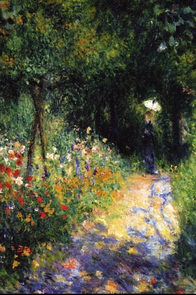 "Woman at the garden - Pierre - Auguste Renoir, 1873 -- I want a print of this in my house. It reminds me of ""I'm in the garden!"""