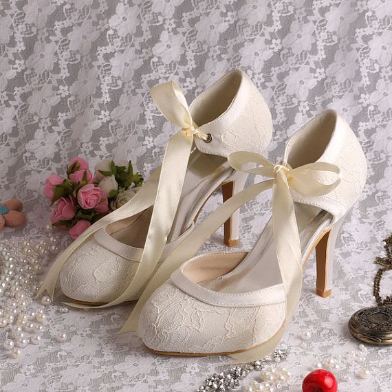 Custom handmade ivory white satin bow tie front mid heel bridal wedding lace ankle mary jane dorsay court