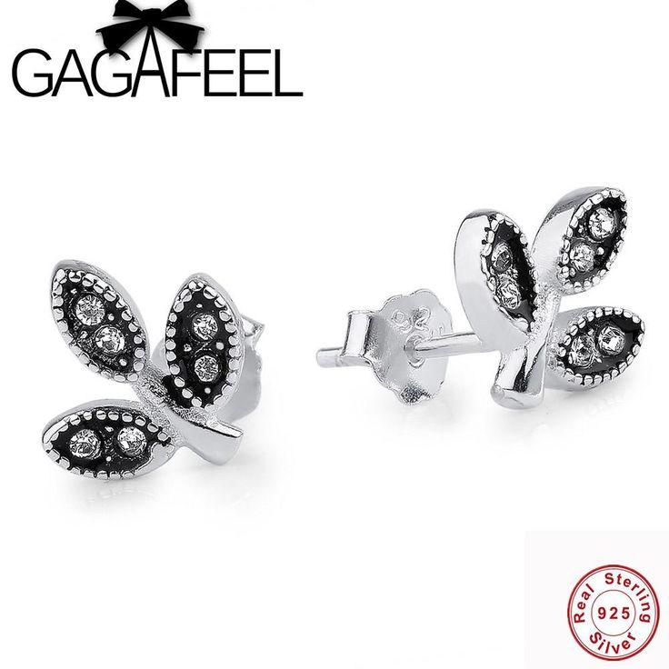 GAGAFEEL Zircon 925 Sterling Silver Earrings Clover Stud Earrings for Girls European Style Earrings Vintage Jewelry for Women