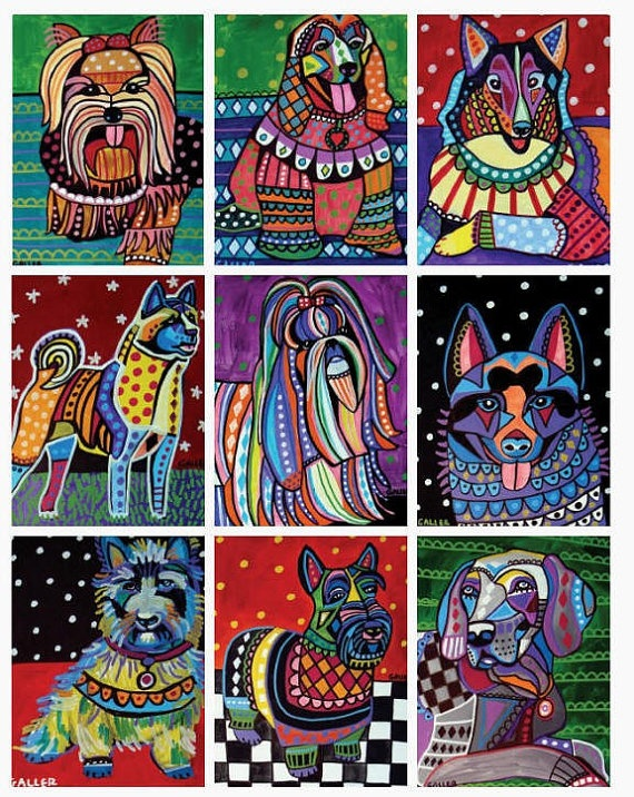 Set of 9 ACEO Print Cards  Dogs by HeatherGallerArt on Etsy, $24.00