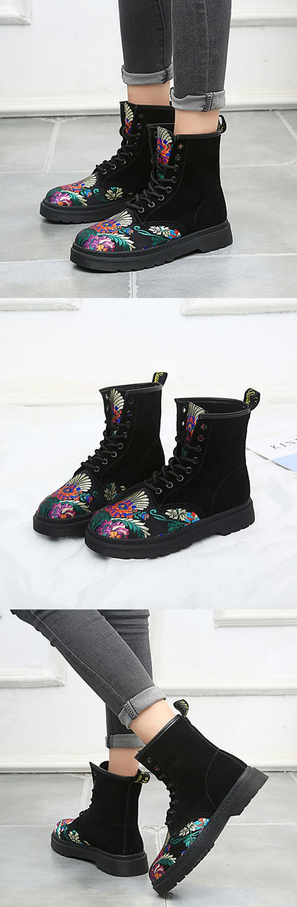 US$39.89  SOCOFY Retro Printing Pattern Ankle Flat Leather Boots