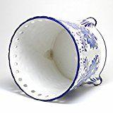 ポルトガル製 陶器 鉢カバー 底穴なし 脚付き ポット ホワイト ブルー 青 白 花 アズレージョ柄 直径22cm 6号鉢 植木鉢 カバー ヨーロッパ #Portugal #ポルトガル