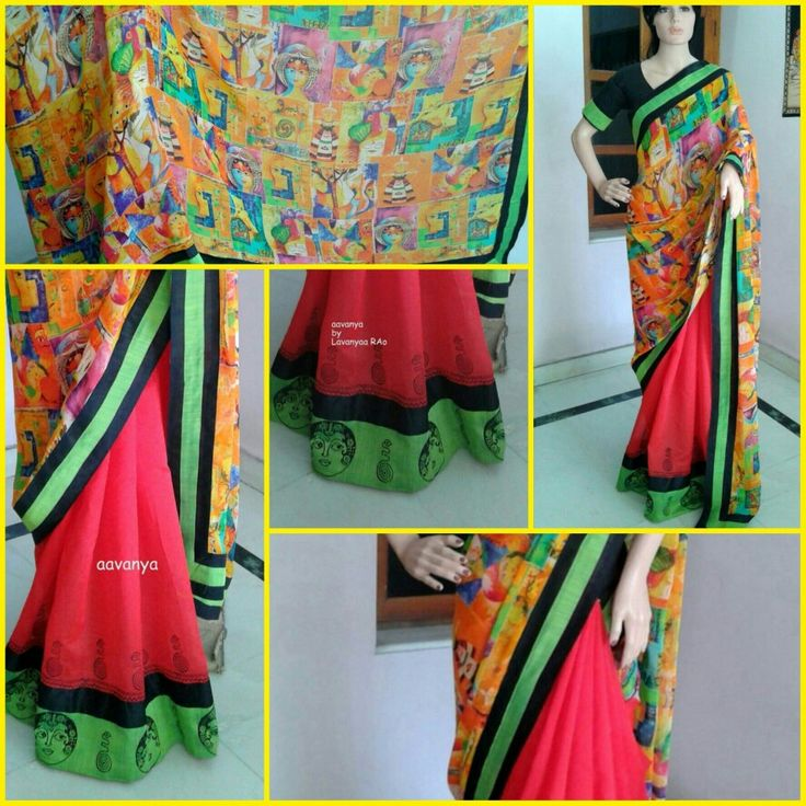 Red chendari with chiffon abstract faces of ladies.on patch Apsara beautiful face from 22.2acessaries page www.facebook.com/Aavanya