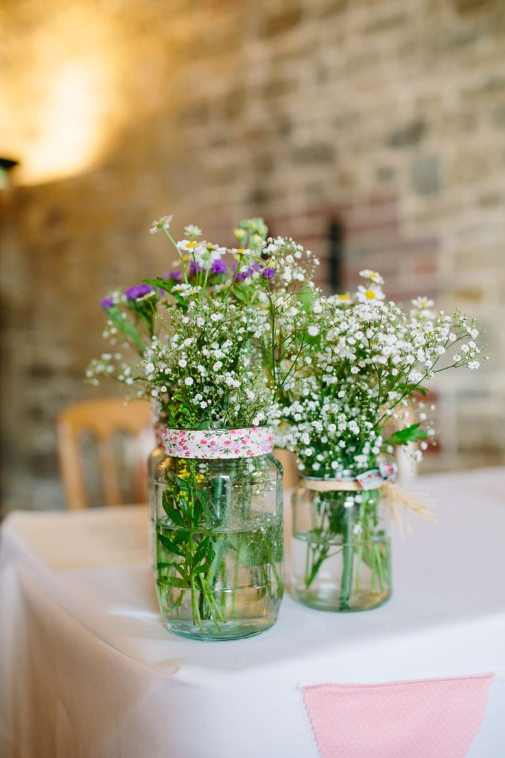 Jar Flowers Daisies Gypsophila Baby Breath Rustic Country Garden Barn Yellow Navy Wedding http://hayleysavagephotography.co.uk/