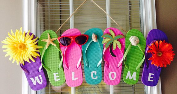 Flip Flop Wreath Beach Wreath Summer Wreath Welcome Wreath Fun