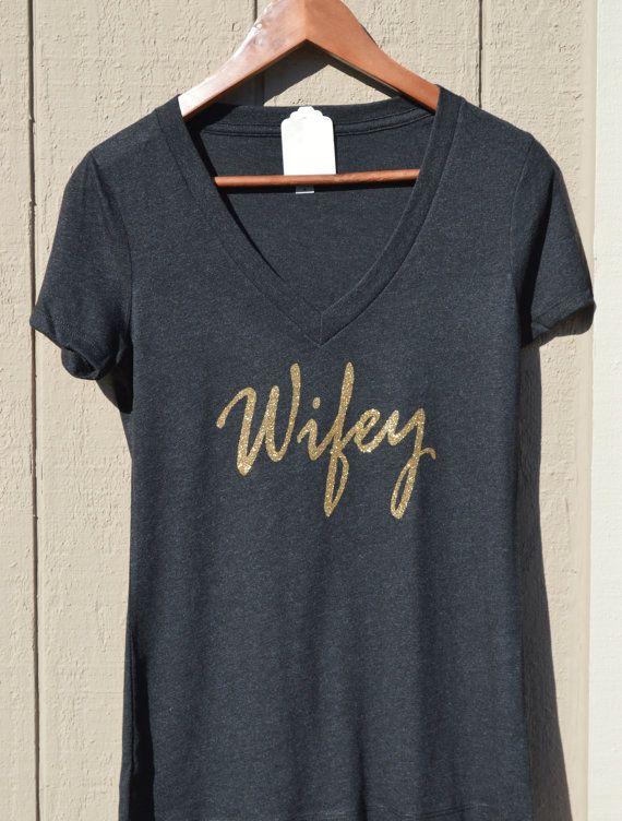 Wifey wifey shirt wifey tee glitter v neck v neck by BRDtshirtzone