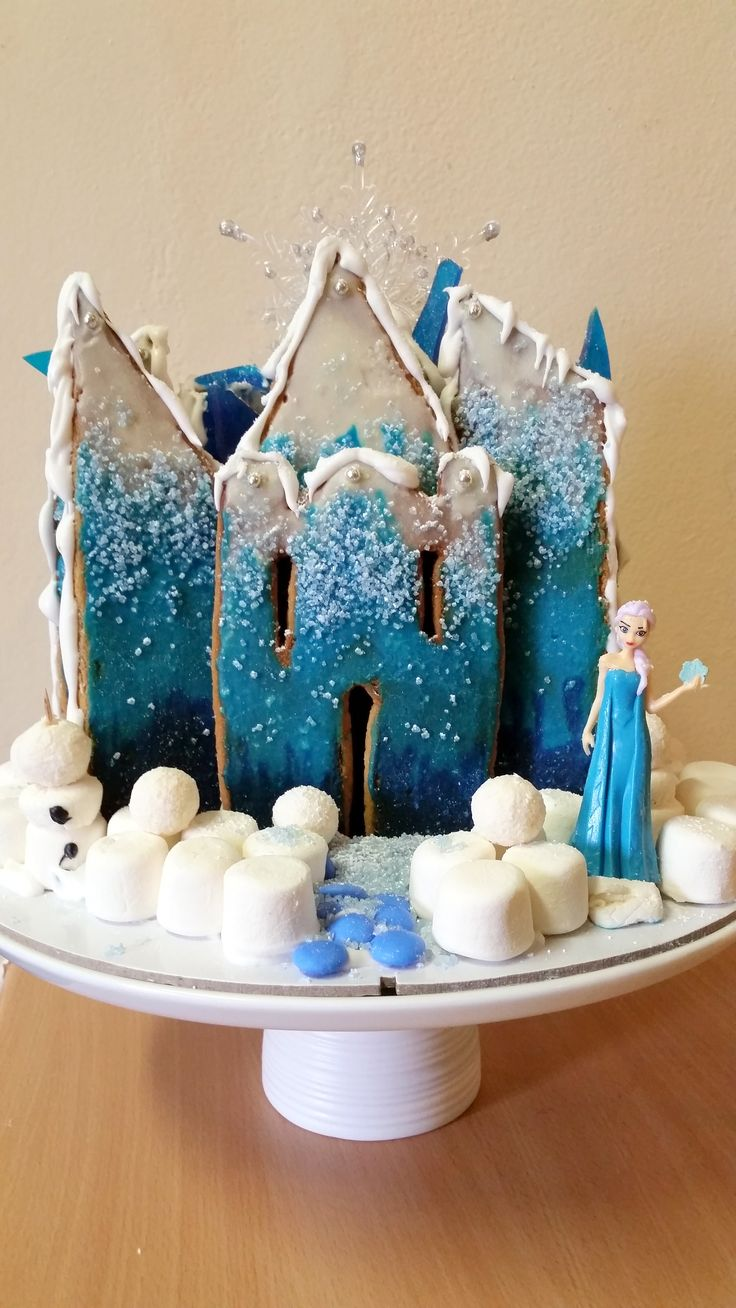 Elsa Frozen Gingerbread Castle (not a simple gingerbread house this year!)