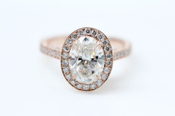 Vintage Style Oval Diamond Halo Engagement Ring, Vintage Style Setting, Rose Gold Ring by Bambinojeweler on Etsy
