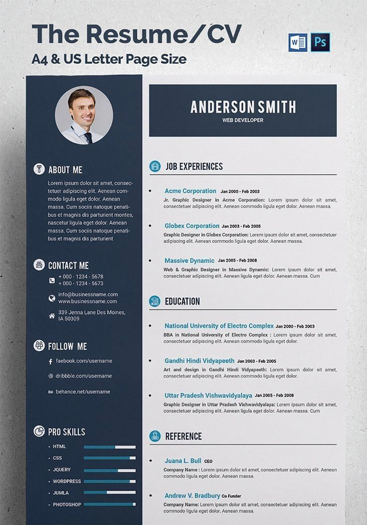 Resume Template With Headshot Photo Cover Letter 1 Page Word Resume Design Diy Cv Temp Cv Resume Template Resume Template Professional Resume Template Free