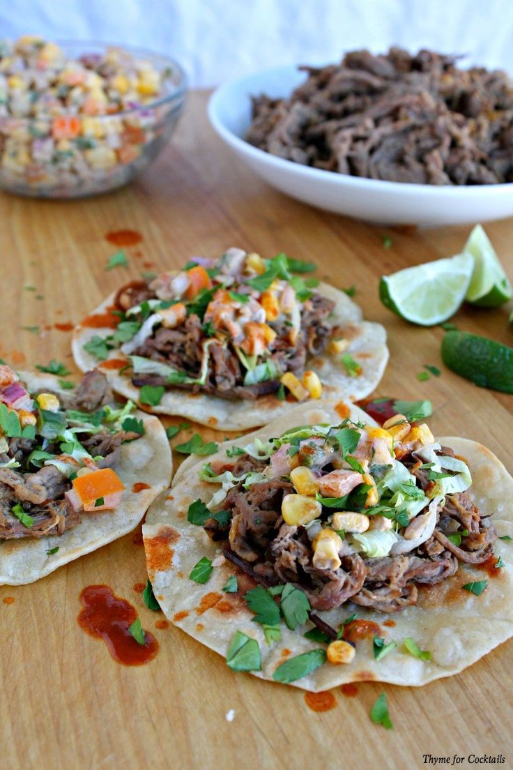 Pulled Tri-Tip Tacos with Creamy Corn Salsa~ Thyme for Cocktails