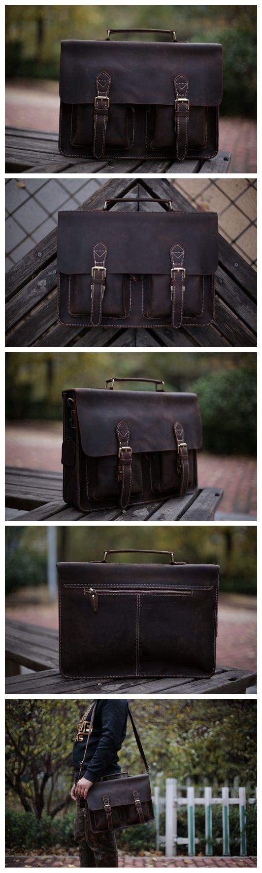 """Handcrafted Top Grain Genuine Leather Laptop Briefcase Business Handbag Men Messenger Bag 0344 Model Number: 0344 Dimensions: 15.3""""L x 3.5""""W x 11""""H / 39cm(L) x 9cm(W) x 28cm(H) Weight: 3.5lb / 1.7kg H"""