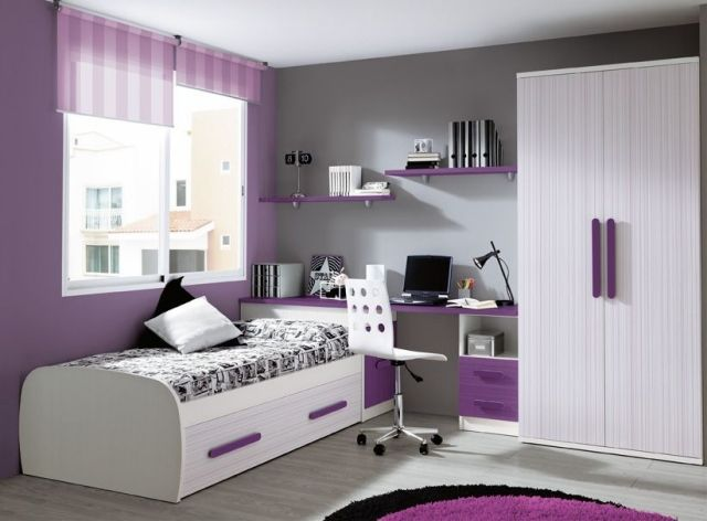 Moderne Kinderzimmermbel Mdchen Lila Wei Graue Akzentwand   Schlafzimmer  Lila Grau