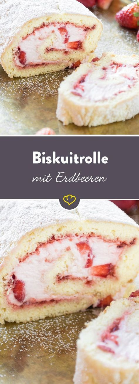 Mit Sahne und Erdbeeren gefüllt – so gefällt mir meine Keksrolle am besten. …   – Sweets