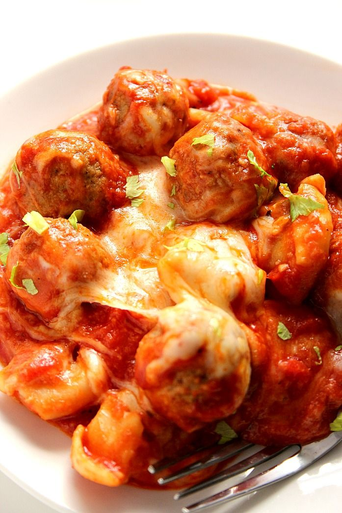 One Pot Cheesy Tortellini and Meatballs Recipe Card