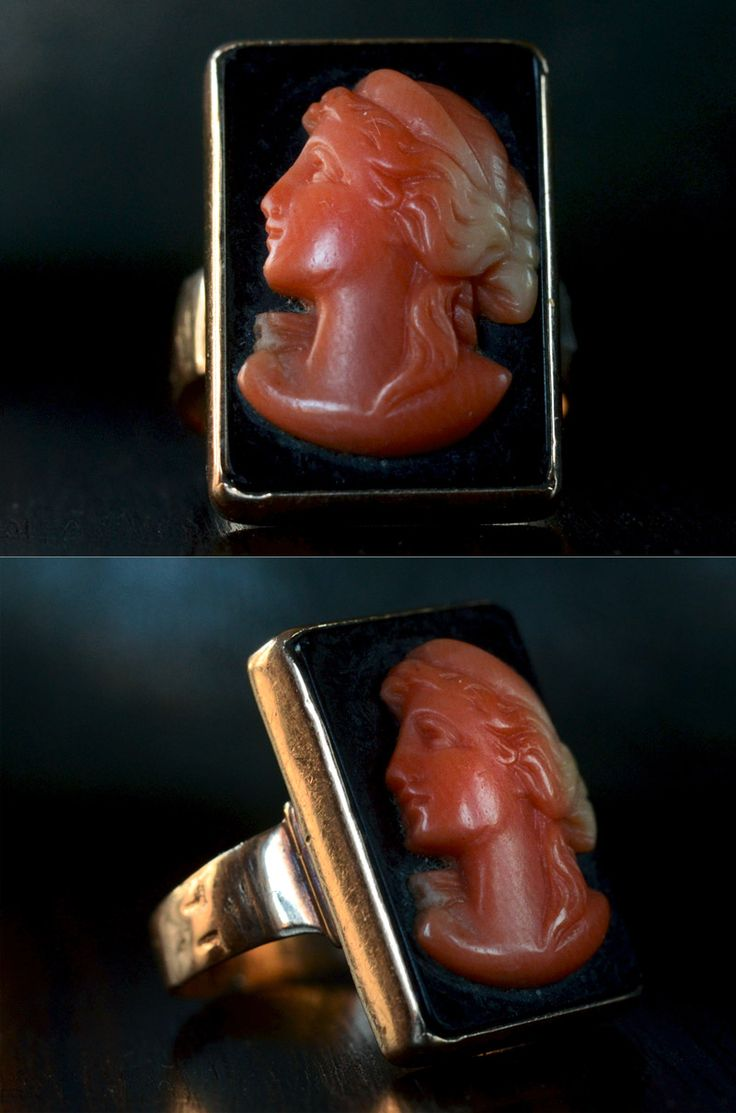 1890s Coral and Onyx Cameo Ring, 10K