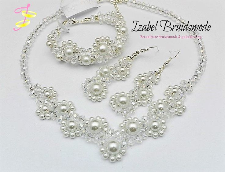 Bruids sieraden met parels/Bridal jewerly crystal with pearls