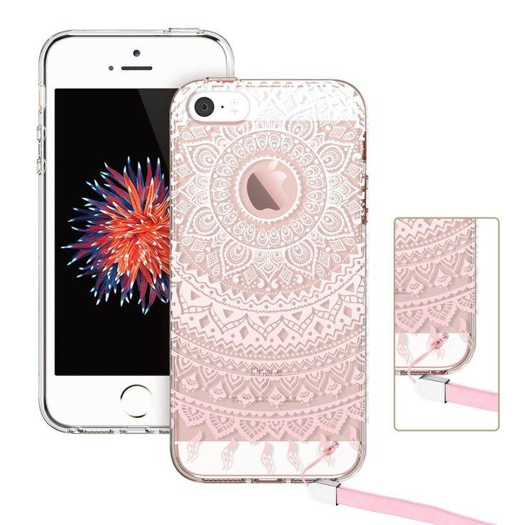 Coque iPhone SE, ESR Coque iPhone 5 / 5S / SE Transparent avec Motif [Gratuit Lanière] [absorbant les chocs] Hybrid Crystal Clear PC dur Couverture Arrière + Souple Bumper en TPU Totem Series (Pink Manjusaka): Amazon.fr: High-tech