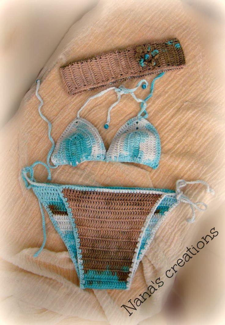 Handmade crochet bikini and handribbon for girls
