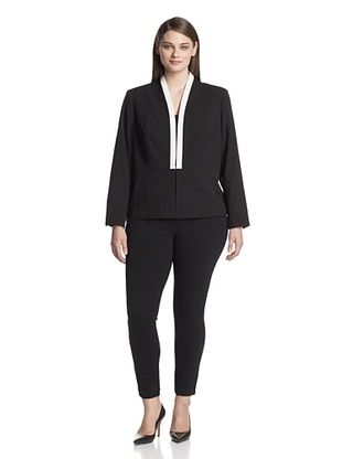 72% OFF Calvin Klein Plus Women's Jacket with Colorblock Piping (Black)