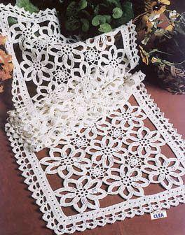 Linikud - Eili Einama - Picasa Web Albums... Beautiful dresser scarf... Free crochet diagrams!!