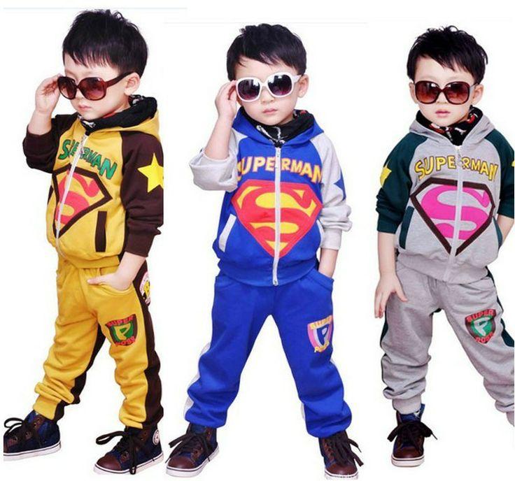 2013 new Korean children's clothing Autumn Small Medium Large boy child children leisure suit superman pattern free shipping $22.00