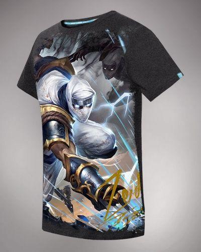 League of Legends hero zed gray short sleeve t shirt for men