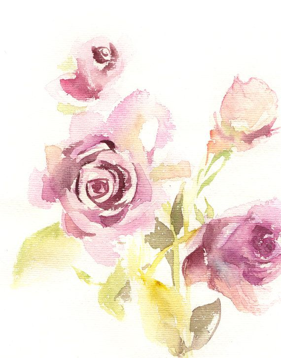 Watercolor Painting Art Print, Roses Painting, Pink and Apple Green, Floral Modern Watercolour Art