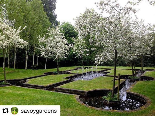 #Repost @savoygardens  . . West Green House Hartley Wintney Hampshire England . Australian garden designer Marylyn Abbotts 18th-century house is surrounded by a series of charming walled gardens. The Persian-inspired Paradise Courtyard above is laid out solely in crabapples MalusEvereste which rise above geometric shapes delicately woven together by water. . . . . . . . Source/Credit/Image: westgreenhouse.co.uk nationaltrust.org.uk higbiemaxon.com gardensfromeden.com .  #WestGreenHouse…