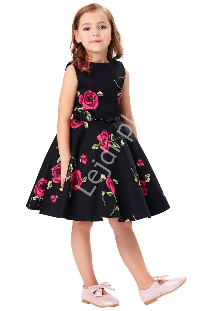 Flower girl dress with red roses. Sukienka dla dziewczynki w czerwone róże   sukienki w stylu pin-up, retro sukienki dla dziewczynek. www.lejdi.pl
