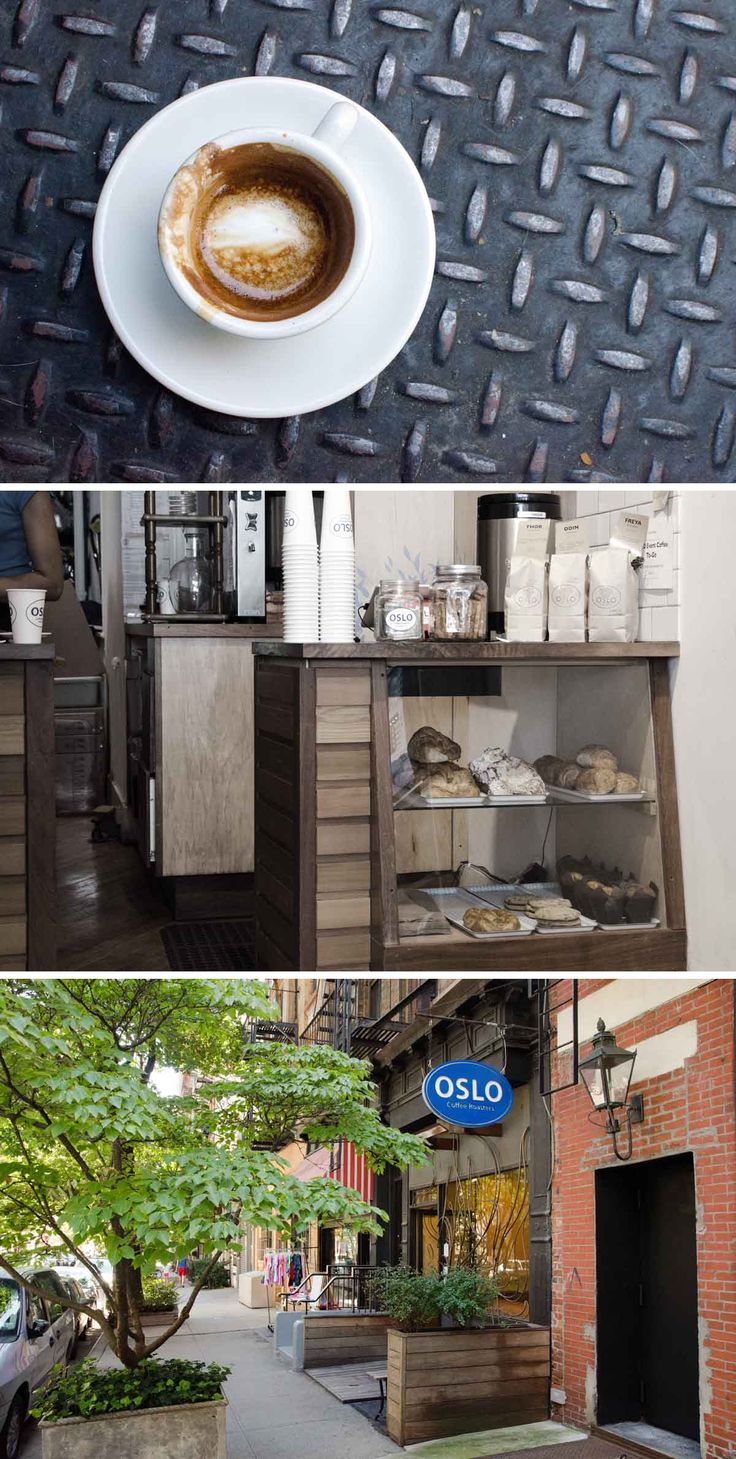 Oslo Coffee Roasters, Yorkville. There are virtually no seats in this tiny cafe so sitting down with a coffee may not be an option. A few pastries and baked items grace the tiny display cabinet and just about any type of coffee you want is available. Love the macchiato here; perfectly sized, well poured and a good robust kick from those Oslo beans.
