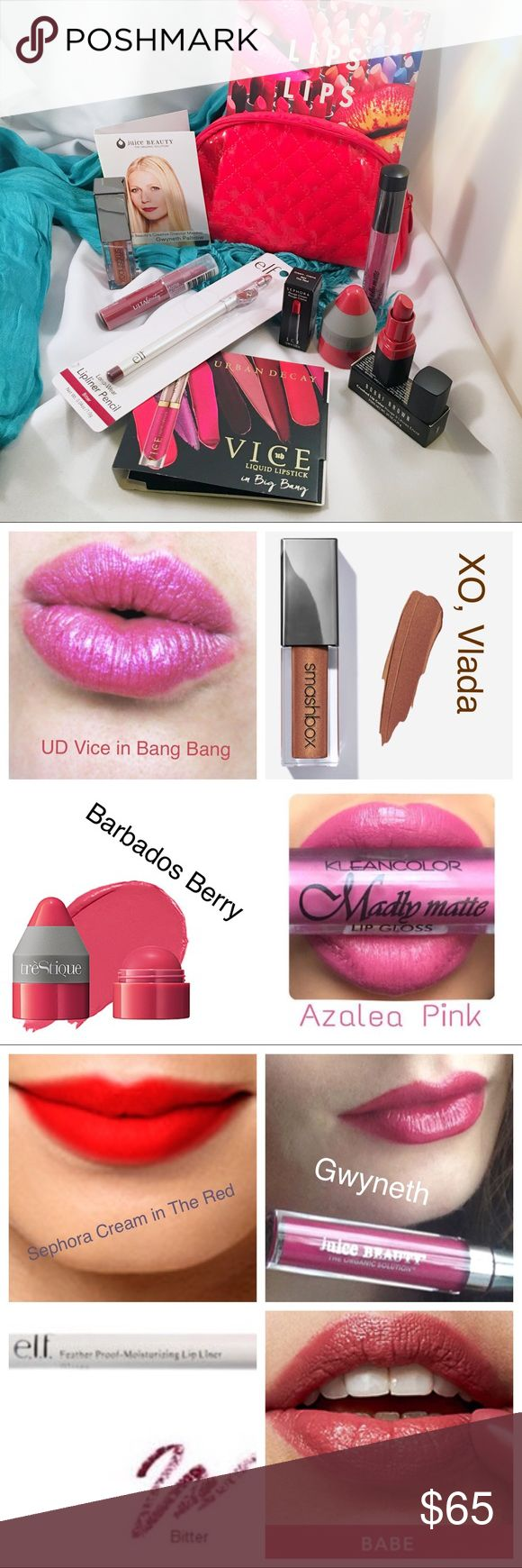 SEPHORA + ULTA Lip, Lip, Lip Custom Kit 10 new lip color products to try. Includes: Full size Smashbox Always On in XO, Vlada; Urban Decay Deluxe Vice in Bang Bang; Trestique Deluxe Plumping Balm in Barbados Berry; Juice Beauty Deluxe Liquid Gloss in Gwyneth; Kleancolor Full Size Madly Matte in Azalea Punk; Bobbi Brown Deluxe Crushed in Babe; Sephora Deluxe Cream in The Red; elf Full Size Pencil in Bitter; Ulta Deluxe Matte Lip Crayon in Soirée; MAC Sample Card with Velvet Teddy, Ruby Woo…