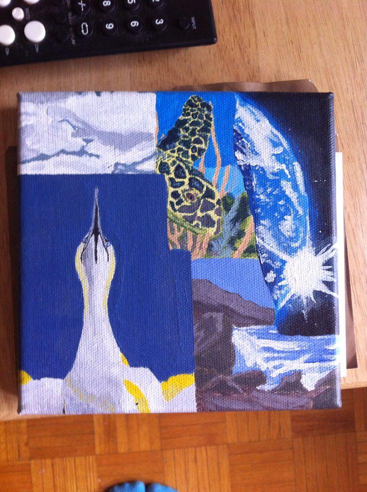 Monochromatic pop art canvas.