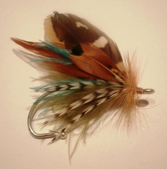 Custom Fly fishing wedding boutonniere lure hook feather....looks like a pearl on it to keep from poking them...smart and easy
