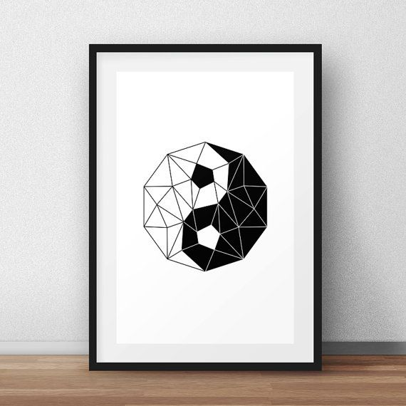 Yin Yang Poster, Polygonal, Print Design, Geometric Figure, Wall Decor, Printable Gift, Print Art, Modern Art, Black and White, B&W