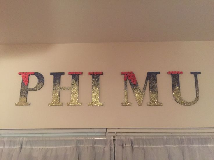 Phi Mu glitter ombré letters