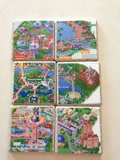 DIY Disney Map Coasters.  This is a great blog, filled with cool Disney crafts!!  merryweatherscottage.blogspot.jp/ next holiday for Mom and Dad @Kelly Teske Goldsworthy Reynolds @Kate Mckenna Reynolds think i can barrow some @Quinn Jones Reynolds