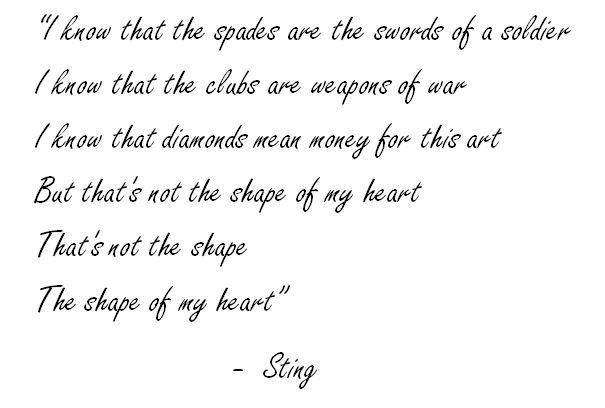 Lyrics Of Shape Of My Heart By Sting Songs With Meaning Sting Lyrics Sting
