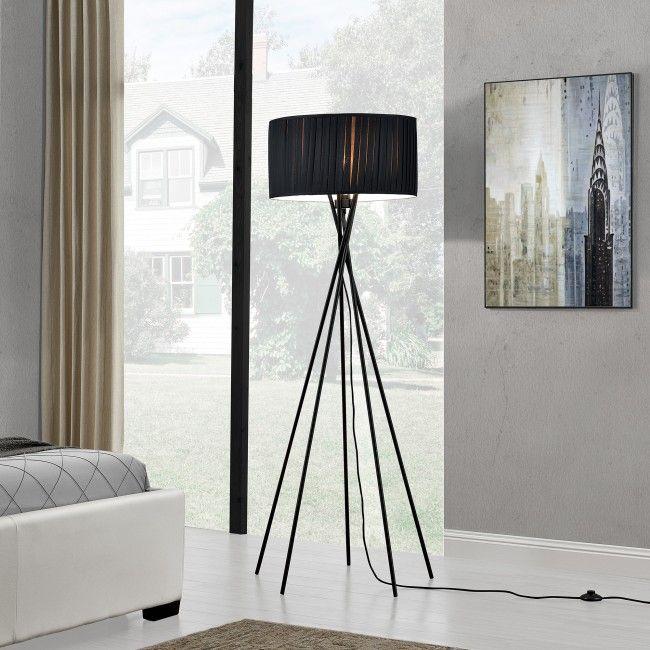 """[lux.pro] Lámpara de pie """"Black Mikado"""" - bombilla excluida - E27 / 60 W / 230 V - Negro (155cm - 48 cm) - design - 56,80 €"""