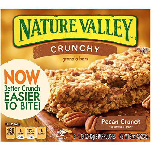 Nature Valley Crunchy Granola Bars, Pecan Crunch (*has small amount of soy flour, which should be tolerated by most)
