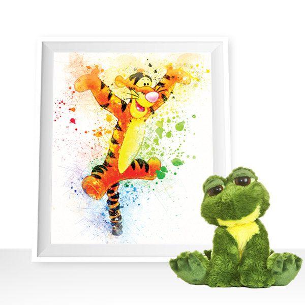 Tigger print, Disney wall art, Disney printable, Winnie the Pooh printable, Tigger watercolor, Tigger poster, Tigger painting, Disney art by HappyLittleFrog on Etsy
