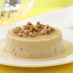 Vanilla Bean Flans with Agave Syrup & Caramelized Walnuts