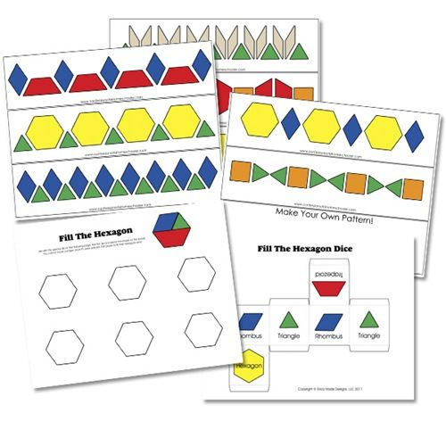 Numeric pattern blocks (tangram) 1-20