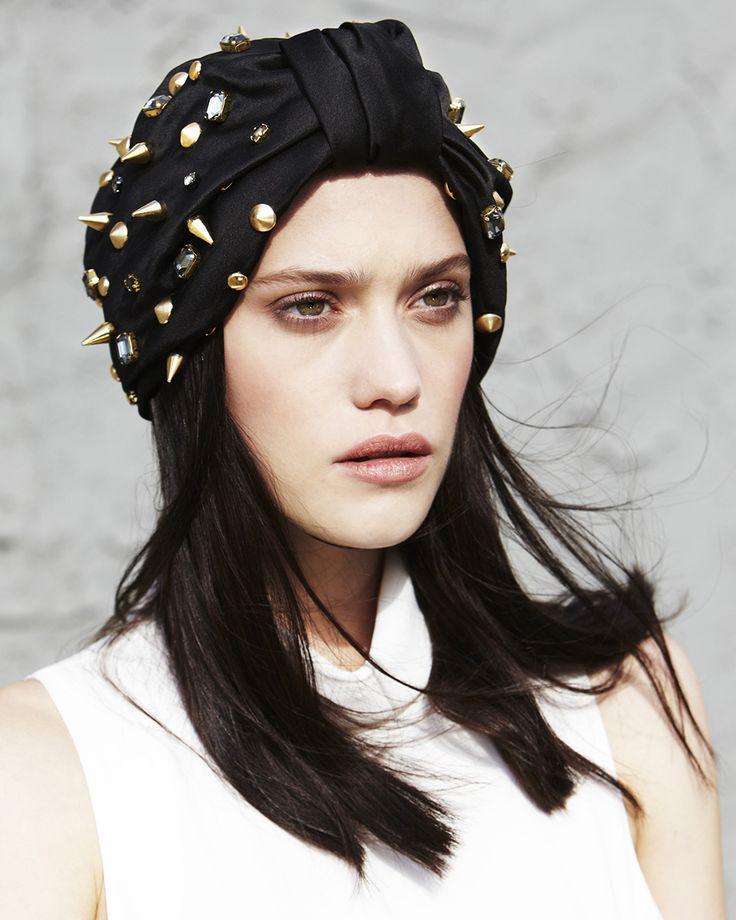 Jennifer Behr Jeweled Spiked Full Turban :: silk satin headpiece with studs and Swarovski crystals, handmade in New York City