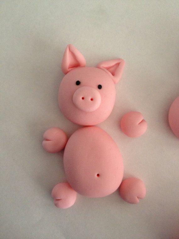 Cerdos de Fondant comestible Cake Toppers para por LuliSweetShop
