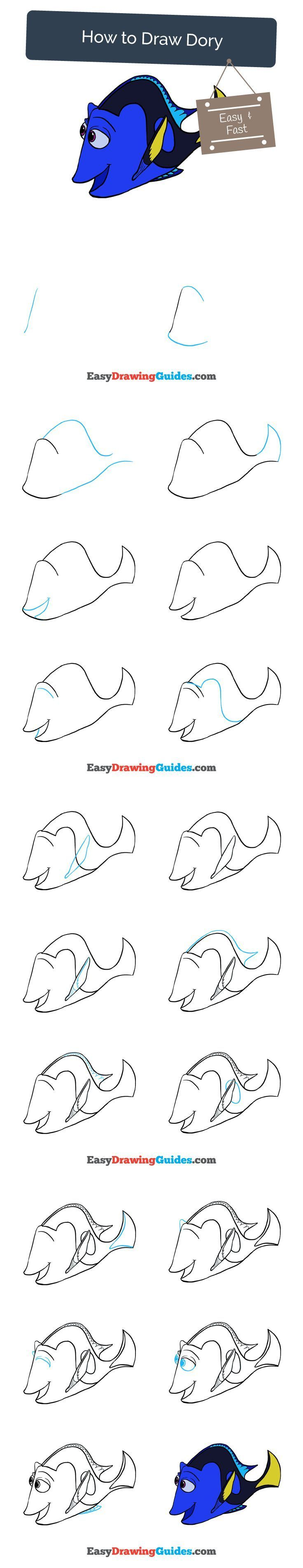 Learn How to Draw Dory from Finding Dory: Easy Step-by-Step Drawing Tutorial for Kids and Beginners. #dory #findingdory #drawing #tutorial. See the full tutorial at https://easydrawingguides.com/how-to-draw-dory/