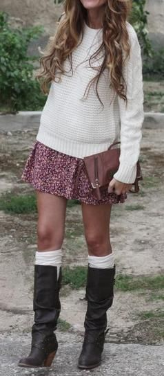 Such a clever way to make your knee-high boots stand out this spring: Pair them with a swingy floral skirt, a light sweater, and a pair of slouchy socks