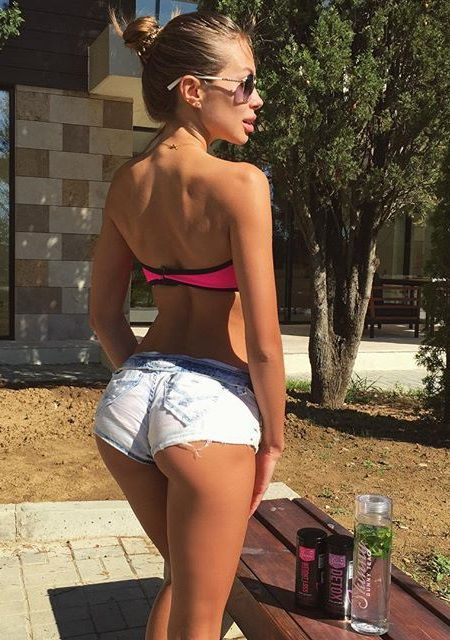 Redhead Girl With Nice Ass In Short Denim